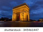 paris arc de triomphe at night  ... | Shutterstock . vector #345461447