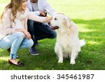 family  pet  animal and people... | Shutterstock . vector #345461987