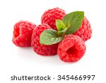 raspberries with leaves... | Shutterstock . vector #345466997