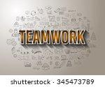 teamwork business success with...   Shutterstock . vector #345473789