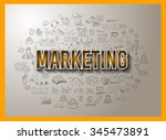 marketing concept with doodle... | Shutterstock . vector #345473891