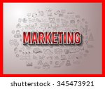 marketing concept with doodle... | Shutterstock . vector #345473921