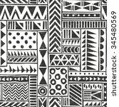 vector seamless tribal pattern. ... | Shutterstock .eps vector #345480569