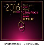 2016 happy new year and merry... | Shutterstock . vector #345480587