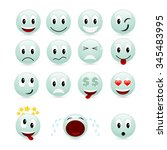set of green smiles isolated on ... | Shutterstock . vector #345483995