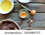 preparing dough for chocolate... | Shutterstock . vector #345484757