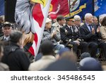 Small photo of NEW YORK - NOVEMBER 11 2015: Norman Lear, US Army Air Corps World War II vet and Honorary Marshal on stage in Madison Square Park before the annual Americas Parade up 5th Avenue on Veterans Day.