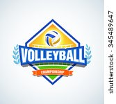 volleyball team logo template.... | Shutterstock .eps vector #345489647