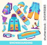 vector snowboarding elements ... | Shutterstock .eps vector #345490085