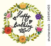 vector floral greeting card of...   Shutterstock .eps vector #345491405