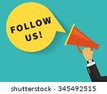 follow us banner for social... | Shutterstock .eps vector #345492515