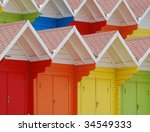 Rows Of Colorful Beach Huts In...