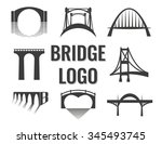Stock vector vector set of bridge connection logo logotype for business 345493745