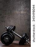 heavy black dumbbells for... | Shutterstock . vector #345498044