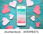 White Smart Phone With Hearts...