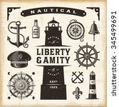 vintage nautical set. editable... | Shutterstock .eps vector #345499691