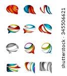 set of abstract speech bubble... | Shutterstock .eps vector #345506621