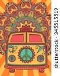 hippie vintage car a mini van.... | Shutterstock .eps vector #345515519