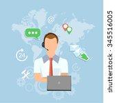 call center man technical...   Shutterstock .eps vector #345516005