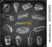 vector set of fast food. vector ... | Shutterstock .eps vector #345518405