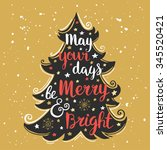 hand drawn christmas and new... | Shutterstock .eps vector #345520421