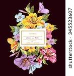 template flower bouquets on... | Shutterstock .eps vector #345523607