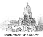 Pencil Drawing Of A Skyscraper...