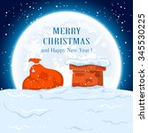 christmas background with sack... | Shutterstock .eps vector #345530225