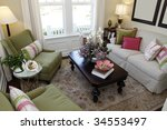living room with contemporary...   Shutterstock . vector #34553497