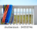 A Colorful Towel Hanging On Th...
