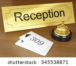 hotel reception with golden...   Shutterstock . vector #345538871