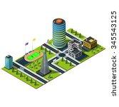 miniature isometric city map....   Shutterstock .eps vector #345543125