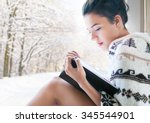 beautiful young brunette woman... | Shutterstock . vector #345544901