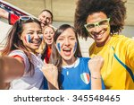 Group Of Sport Supporters At...
