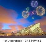 beautiful fireworks above... | Shutterstock . vector #345549461