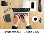 man hands with laptop  diary ... | Shutterstock . vector #345559229