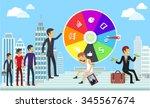 wheel of business fortune... | Shutterstock . vector #345567674