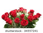 Stock photo a bunch of red roses on a white background 34557241