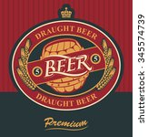 oval label for draft beer with... | Shutterstock .eps vector #345574739