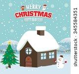 vintage christmas poster design | Shutterstock .eps vector #345584351