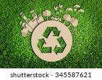 paper cut of green city...   Shutterstock . vector #345587621