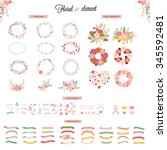 floral hand drawn vector set.... | Shutterstock .eps vector #345592481
