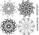 four rosettes. four compound... | Shutterstock .eps vector #34559347
