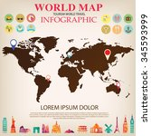 world map info graphic vector. | Shutterstock .eps vector #345593999