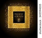 golden frame on black...   Shutterstock .eps vector #345594035