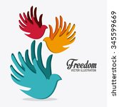 freedom concept with icons ... | Shutterstock .eps vector #345599669