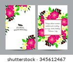 invitation with floral...   Shutterstock . vector #345612467