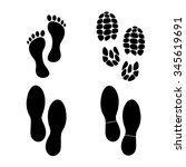 foot print vector icon  set | Shutterstock .eps vector #345619691