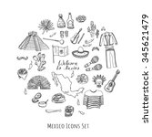 hand drawn doodle mexico set... | Shutterstock .eps vector #345621479
