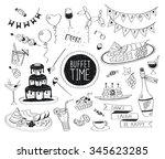 buffet party doodle set. hand... | Shutterstock . vector #345623285